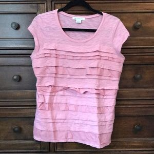 Cute cotton tee with tiered fabric